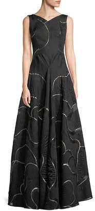 Talbot Runhof Portman V-Neck Sleeveless Metallic Jacquard Evening Gown