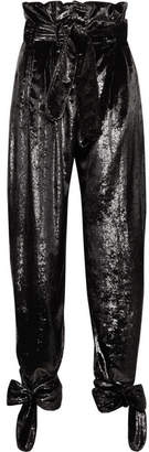 ATTICO Tie-detailed Belted Metallic Velvet Straight-leg Pants - Black
