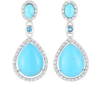 Pear-Shaped Turquoise & Gemstone Drop Earrings,Sterling
