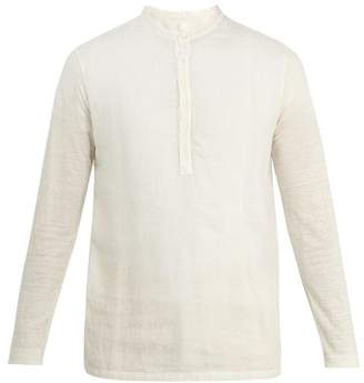 120% Lino Henley Long Sleeved Linen T Shirt - Mens - Dark White