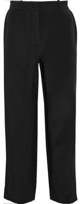 Goat Cropped Silk-Cady Straight-Leg Pants