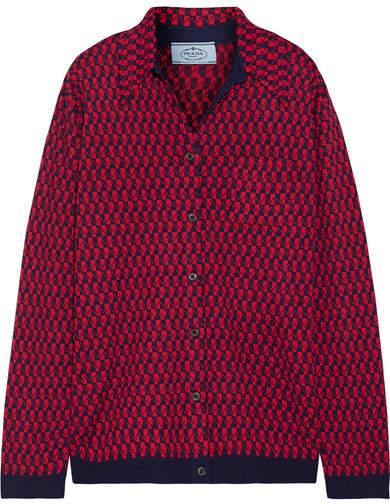 Prada - Intarsia Wool Shirt - Red