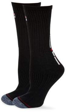 Fila Set of Two Heritage Classic Stripe Logo Crew Socks