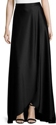 St. John Collection Liquid Satin Faux-Wrap Gown Skirt, Caviar $795 thestylecure.com
