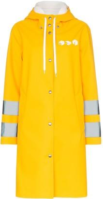 Miu Miu logo print hooded waterproof raincoat