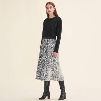 Maje Leopard-print pleated skirt