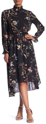 Nanette Lepore NANETTE Long Sleeve Smocked Print Dress