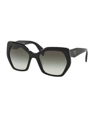 Prada Heritage Hexagonal Sunglasses, Black $255 thestylecure.com