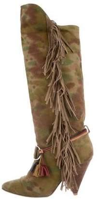 Isabel Marant Camo Fringe Knee-High Boots