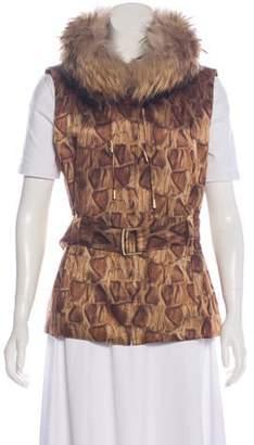 St. John Sport Fur-Trimmed Printed Vest
