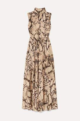 SOLACE London Rhoda Snake-print Jersey Maxi Dress - Beige