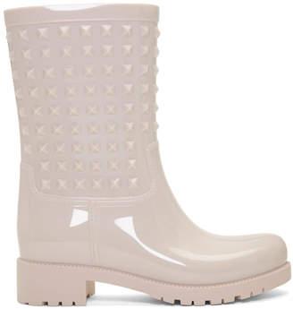 Valentino Pink Garavani Rockstud Rain Boots