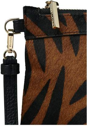 f4c5fd89b8df Whistles Animal Print Leather Chester Zip Pouch Bag - Brown/Black