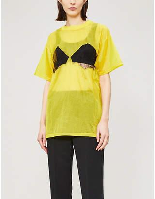 Maison Margiela Lace-panel shell T-shirt