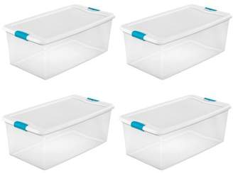 clear Sterilite 106-Qt. Stackable Latching Storage Box Container, 4 Pack | 1499
