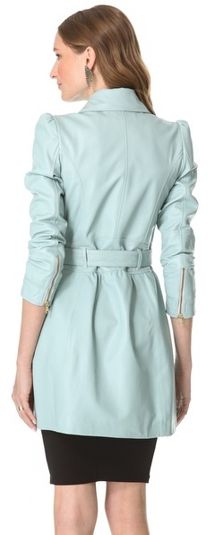 RED Valentino Leather Ruffle Trench
