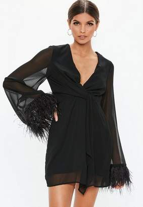 Missguided Black Twist Front Sheer Feather Trim Shift Dress