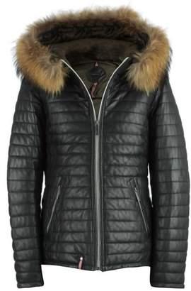 Oakwood Happy Black Leather Fur Trim Hooded Jacket
