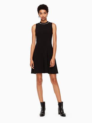 Kate Spade Pearl Embellished Crepe Dress, Black - Size 10