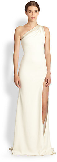 Badgley Mischka One-Shoulder Gown
