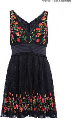 Next Womens French Connection Black Lace V-Neck Embroidered Dress
