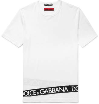 Dolce & Gabbana Slim-Fit Logo-Print Cotton-Jersey T-Shirt - Men - White