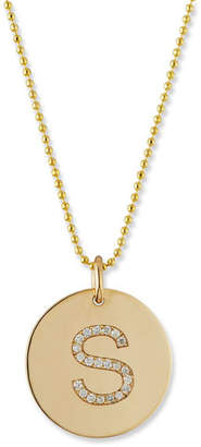 Chicco Zoe 14k Pave Diamond Initial Disc Pendant Necklace