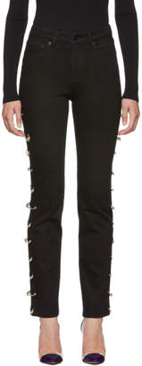 Versus Black Cut-Out Safety Pin Jeans