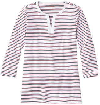L.L. Bean Women's L.L.Bean Tee, Three-Quarter-Sleeve Splitneck Tunic Stripe