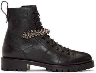 Jimmy Choo Black Grained Cruz Flat Boots