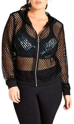 City Chic Fishnet Mesh Zip Hoodie