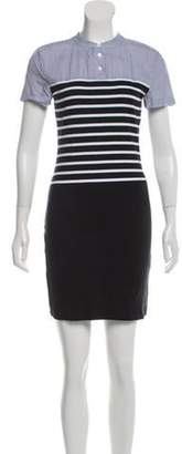 Band Of Outsiders Striped Short Sleeve Dress Blue Striped Short Sleeve Dress