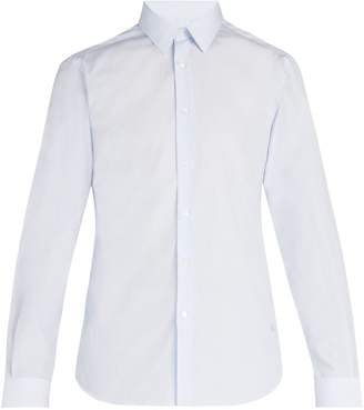Burberry Logo-embroidered pinstriped cotton shirt