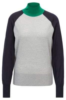 BOSS Hugo Relaxed-fit turtleneck sweater in merino wool S Patterned