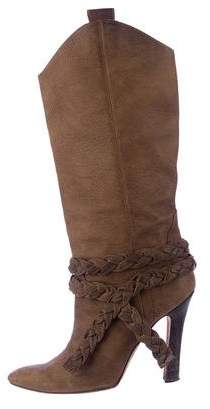 Manolo Blahnik Braided Leather Boots