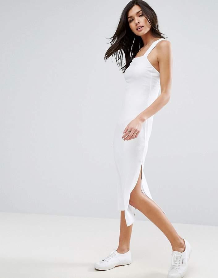 Asos Square Neck Column Midi Ribbed Singlet Dress With Wide Straps