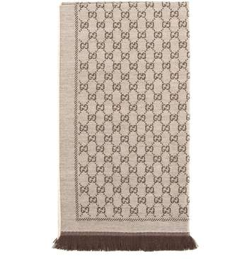 Gucci Brown Wool GG Jacquard Scarf (New with Tags)