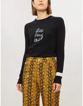 Bella Freud Lux Pony Club embroidered cashmere jumper