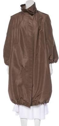 Oscar de la Renta Long Stand-Up Collar Coat
