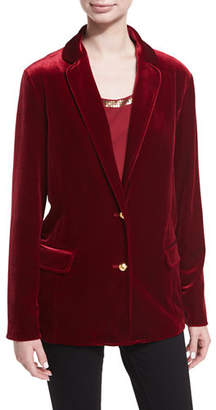 Joan Vass Stretch-Velvet Two-Button Blazer, Plus Size