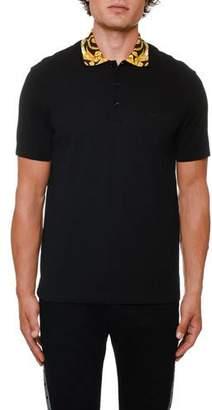 Versace Men's Contrast-Collar Pique Polo Shirt