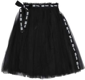 Stretch Tulle Skirt W/ Logo Belt