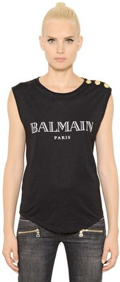 Logo Printed Cotton Jersey T-Shirt $180 thestylecure.com
