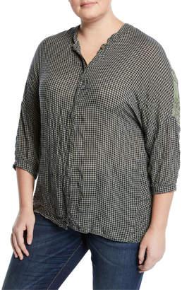 XCVI Cosmina Ruffle-Back Button-Front Blouse, Plus Size
