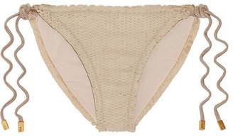 Vix - Laser-cut Faux Suede Bikini Briefs - Mushroom $95 thestylecure.com