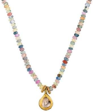 18K Diamond & Multistone Bead Strand Necklace