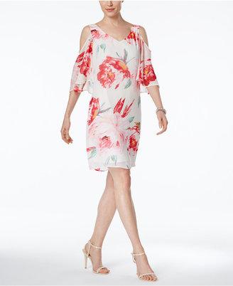Connected Floral-Print Chiffon Cold-Shoulder Dress $79 thestylecure.com