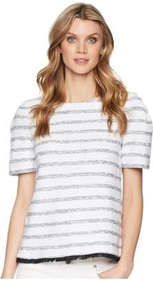 Ellen Tracy Cropped Boxy Fringe Hem Top Women's Clothing