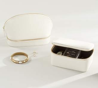 Pottery Barn Personalized Reese Leather Travel Jewelry Collection - Ivory