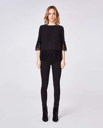 Nicole Miller Lace Bell Sleeve Top
